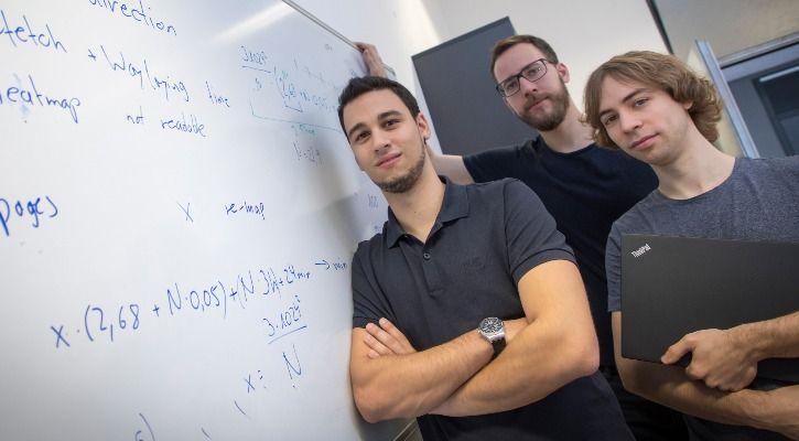Michael Schwarz (L), Moritz Lipp (C) and Daniel Gruss (R) from TU Graz