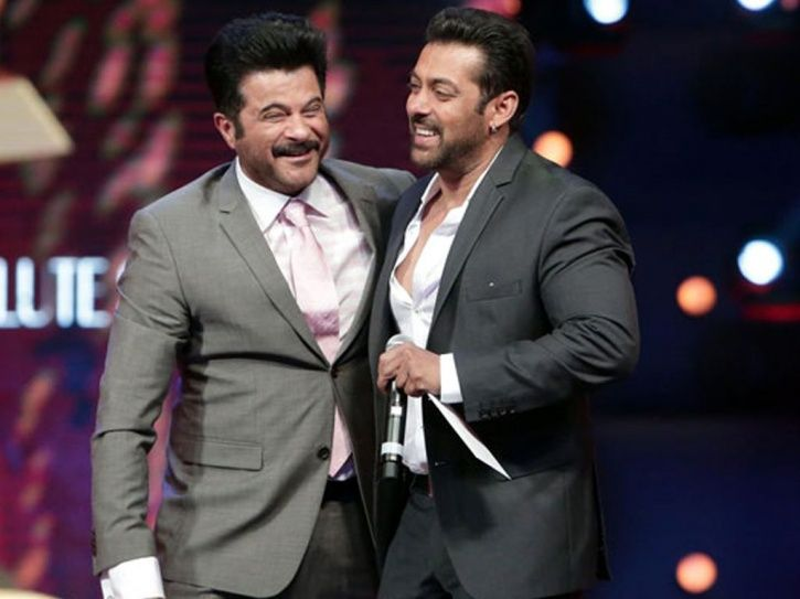 A picture of Anil Kapoor with Salman Khan.