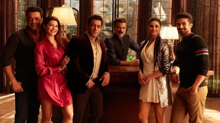 A picture of the entire cast of Race 3 including  Anil Kapoor and Salman Khan.