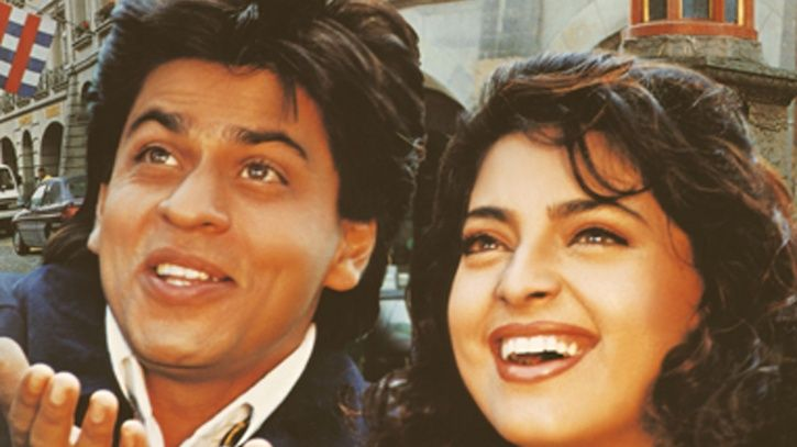 A still of Shah Rukh Khan and Juhi Chawla from Yes Boss.