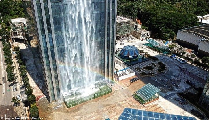 Chinese Skyscraper Boasts Of A 350-Foot Tall Artificial Waterfall Streaming Down