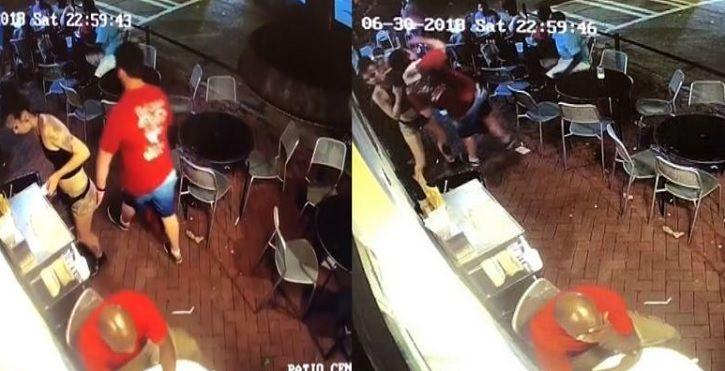 Man gropes waitress