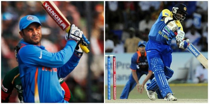 Virender Sehwag hits the ball hard