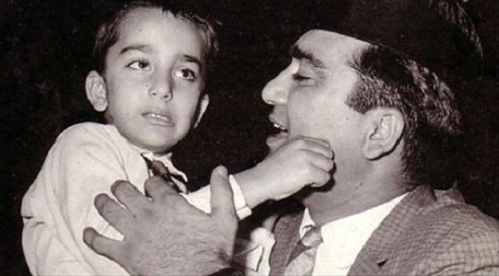 A childhood picture of Sanjay Dutt with his father Sunil Dutt.