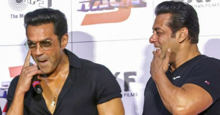 A picture of Bobby Deol with Salman Khan.