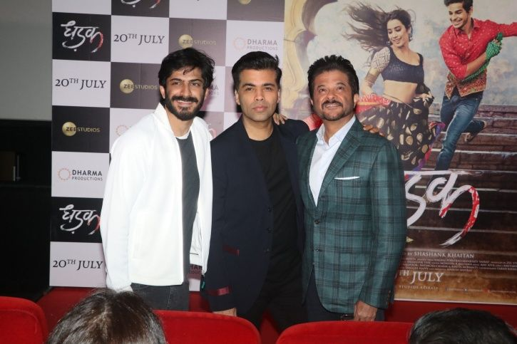 A picture of Karan Johar from the trailer launch of Janhvi Kapoor and Ishaan Khattar starrer Dhadak.