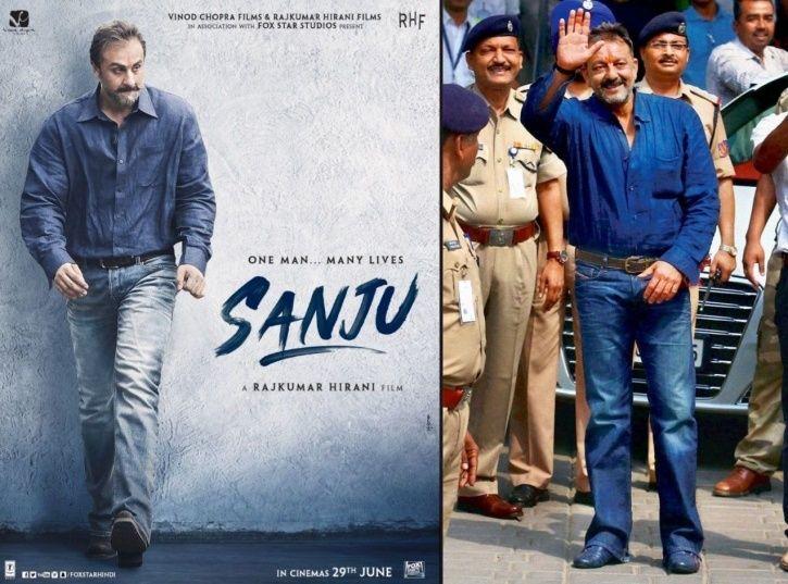 A picture of Ranbir Kapoor as Sanjay Dutt from Sanju.