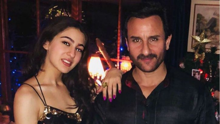 A picture of Saif Ali Khan and Sara Ali Khan, who is making her Bollywood debut in 2018 with Simmba.