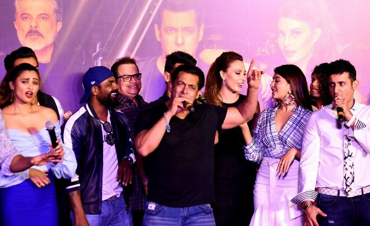 A picture of Salman Khan with his Race 3 team including Jacqueline, Daisy Shah and Bobby Deol.
