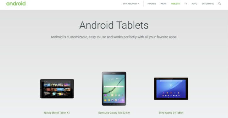 android tablet page