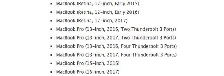 Apple MacBook Pro affected models