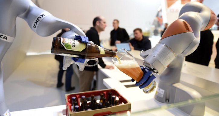 beer bottles and robot arms ai