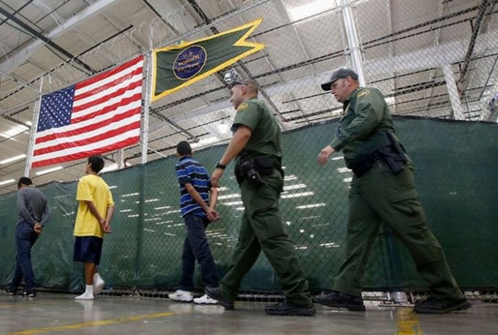 Customs and Border Protection agents staff a medical station at the Nogales detention facility.