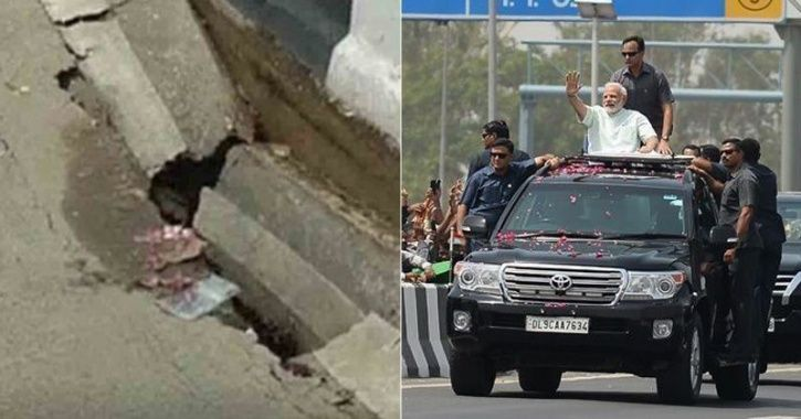 Narendra modi, cracks, eastern peripheral, delhi-meerut expressway