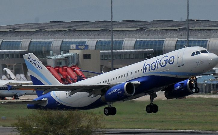All Four Gear Wheels Of Indigo Aircraft Burst