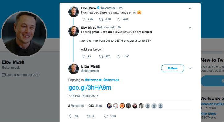 Fake Elon Musk Tweet
