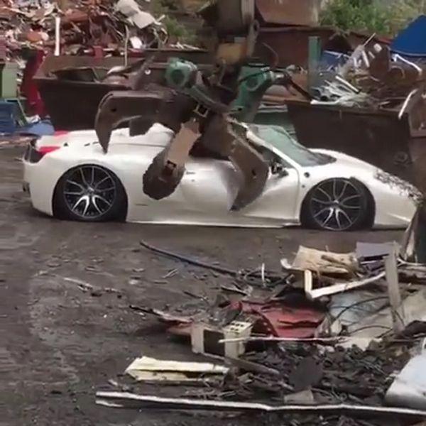 Ferrari 458 Spider crushed