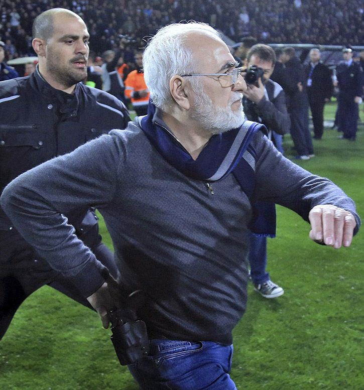 Football Team Owner In Greece Runs On Pitch With Gun