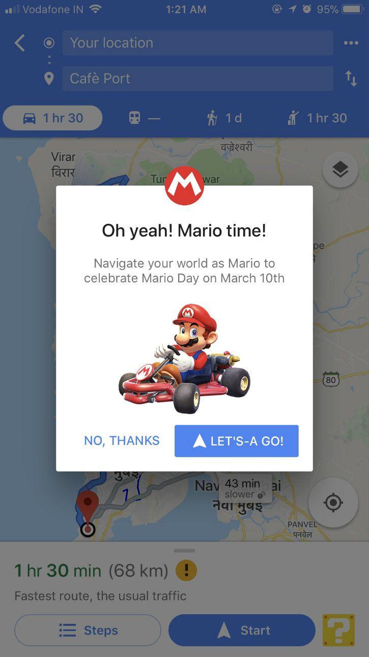 google maps mario day navigation