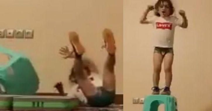 little girl performs stunt