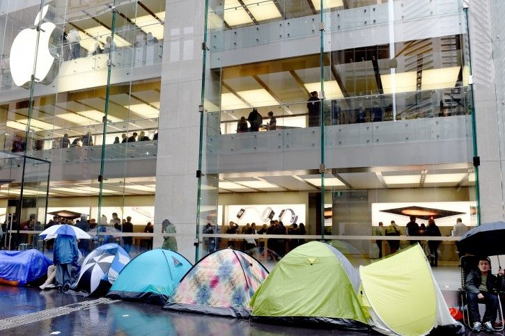 tents pitched outside Apple store in Sydney Australia