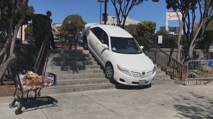 Uber stuck on stairs