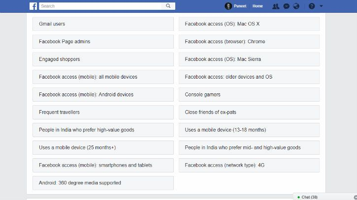 Your Facebook ad profile
