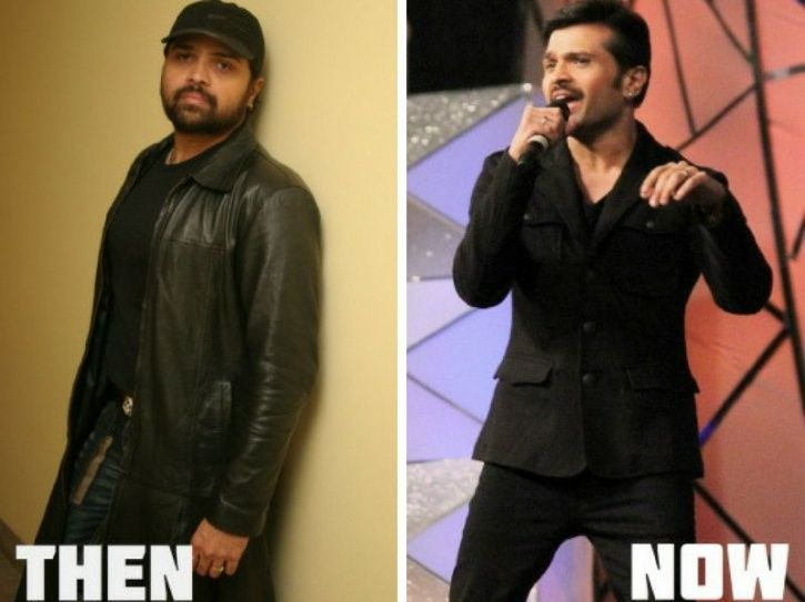 A before and after picture of Himesh Reshammiya. Here