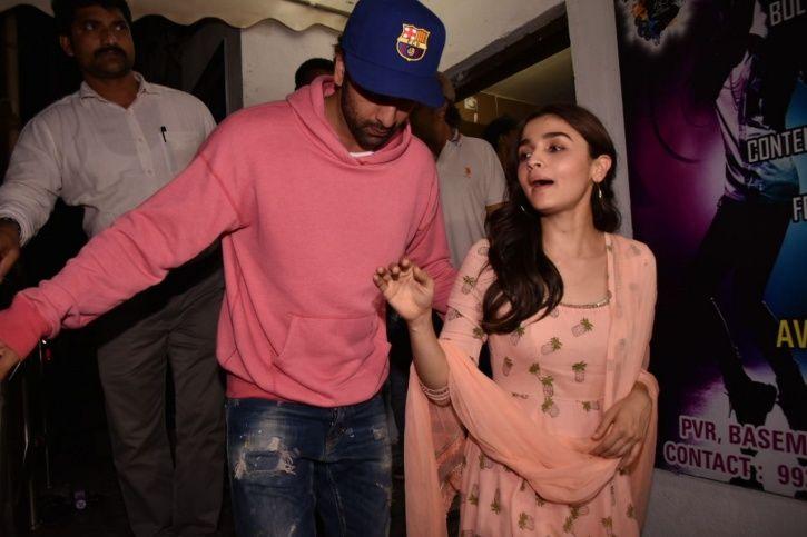 A picture of Alia Bhatt and Ranbir Kapoor at Raazi screening.