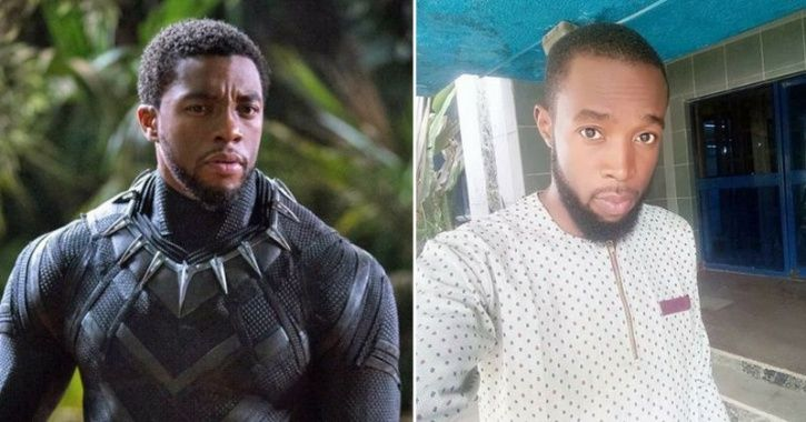 A picture of Black Panther AKA Chadwick Boseman with his doppelganger Suleiman Abdulfatai.