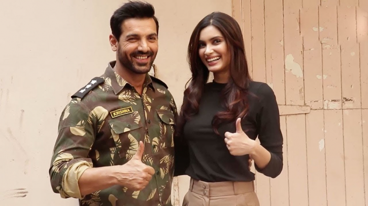 A picture of Diana Penty and John Abraham from their film Parmanu- The Story of Pokhran.