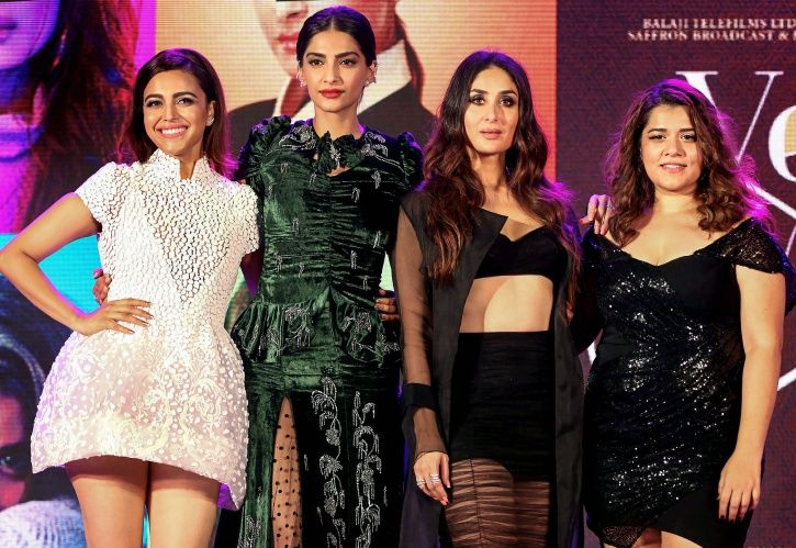 A picture of Kareena Kapoor and Sonam Kapoor as they talk on feminism at Veere Di Wedding promotions