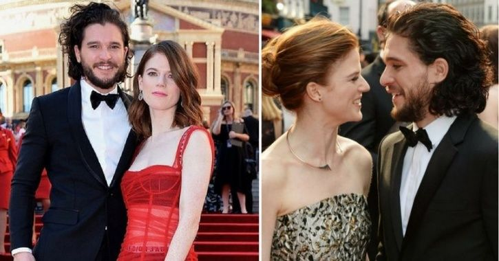 A picture of Kit Harington and Rose Leslie.