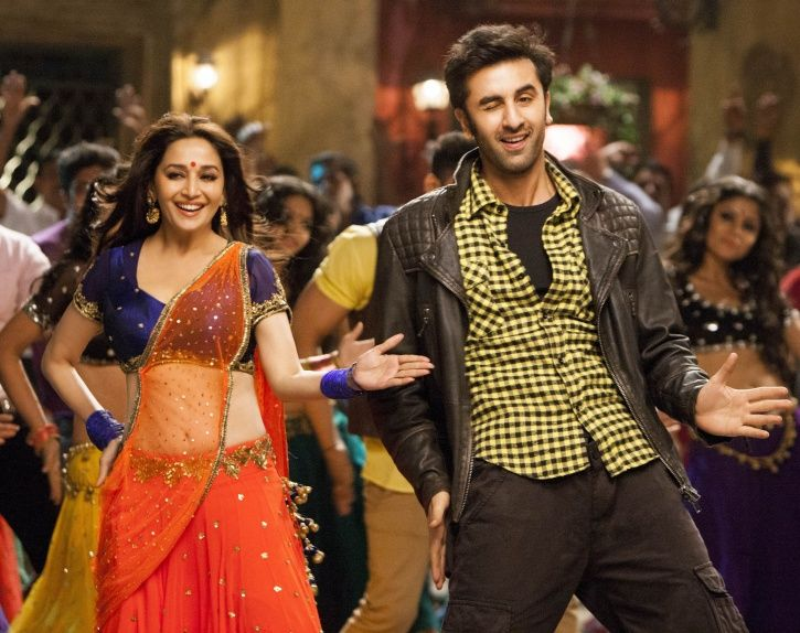 A picture of Madhuri Dixit dancing with Ranbir Kapoor.