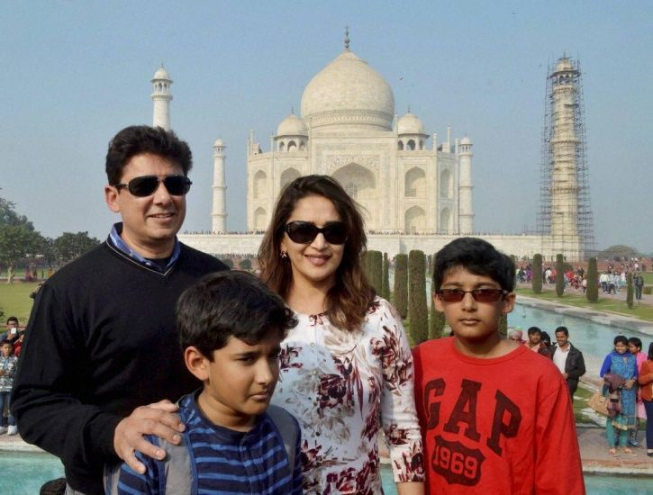 A picture of Madhuri Dixit with her family.