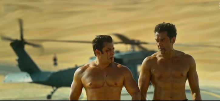 A picture of Salman Khan and bobby Deol from Race 3 trailer.