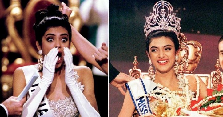 A picture of Sushmita Sen when she won Miss Universe title in 1994.