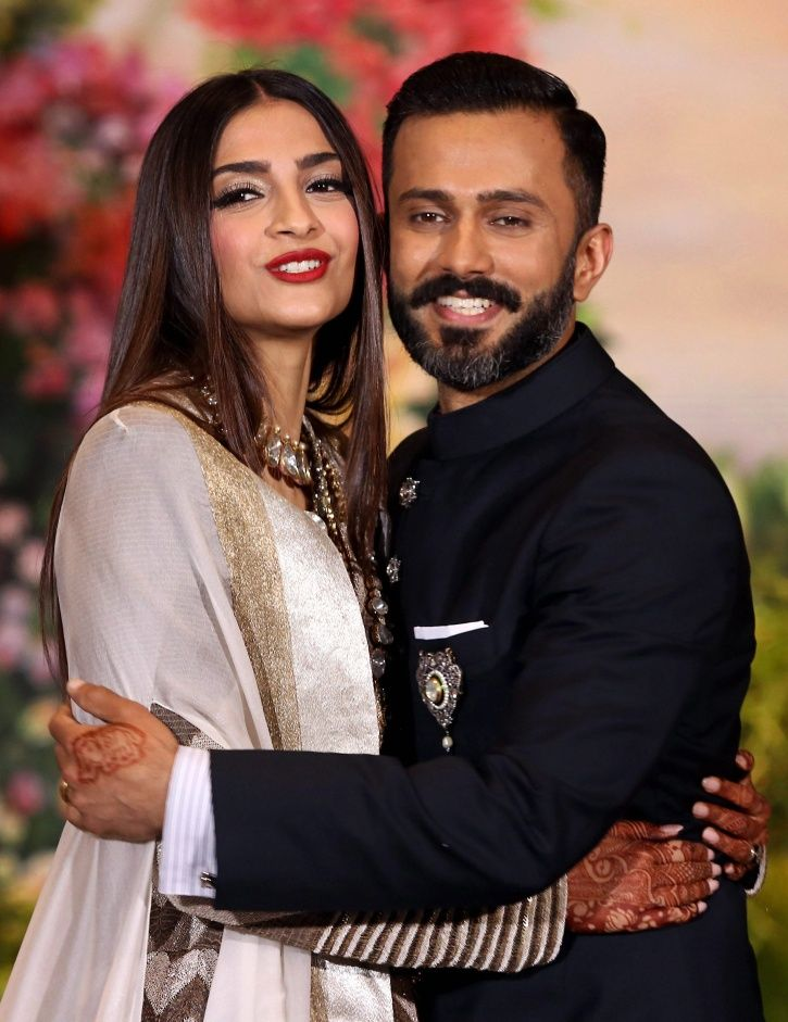 A picture of the newly wedded couple Sonam Kapoor and Anand Ahuja flaunting their engagement ring.