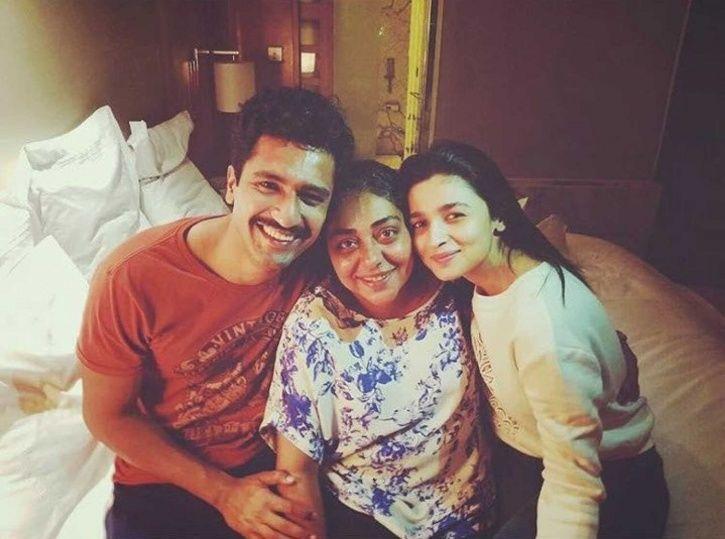 A picture of Vicky Kaushal, Alia Bhatt and Raazi director Meghna Gulzar.
