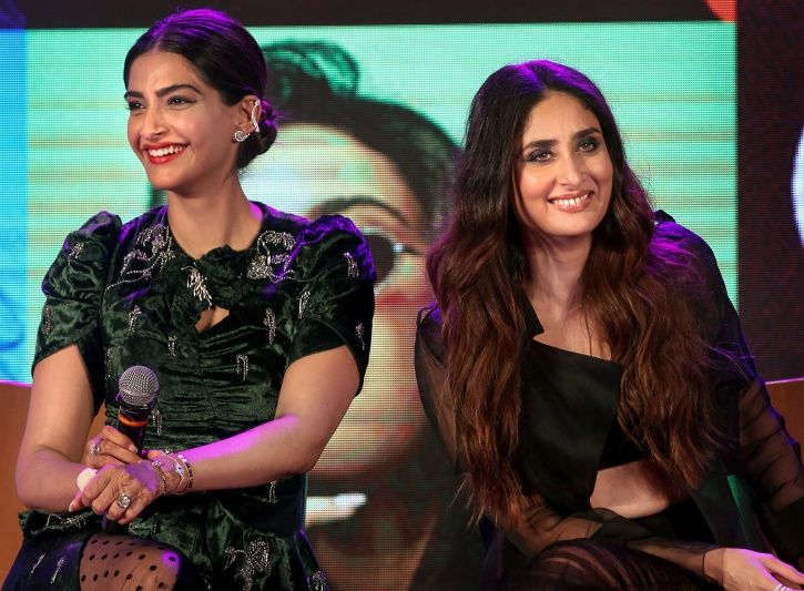 A picture pof Kareena Kapoor and Sonam Kapoor as they talk on feminism at Veere Di Wedding promotion