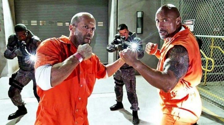 A still of Jason Statham AKA Deckard Shaw and Jason Statham AKA Hobbs from Fast and Furious spin off