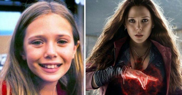 Childhood pictures of Avengers -- elizabeth olsen AKA Sacrlet witch