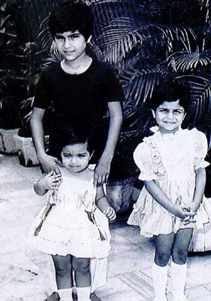 Childhood pictures of Saif Ali Khan, Soha Ali Khan and Saba Ali Khan.