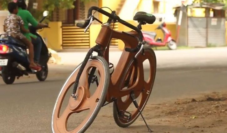 P K Murugesan Wooden Bicycle