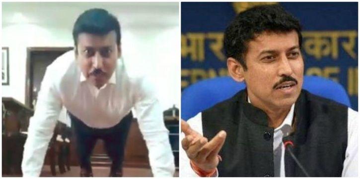 Rajyavardhan Rathore did 10 push-ups in office