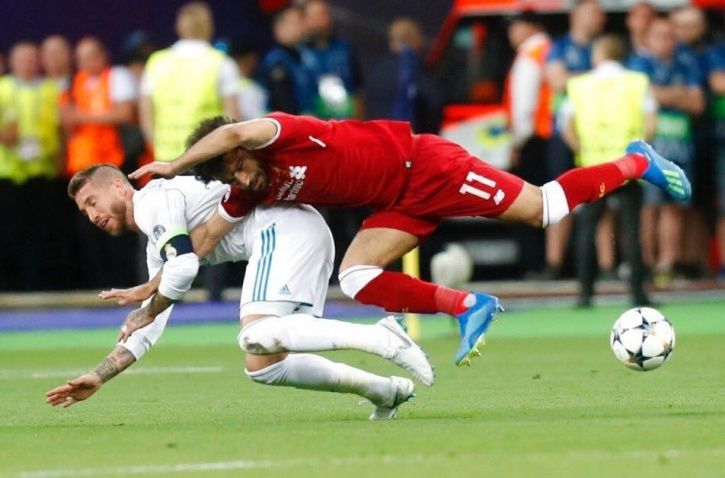 Sergio Ramos brought down Mohamed Salah
