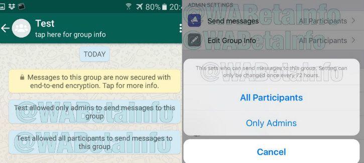 whatsapp restricted group screenshot