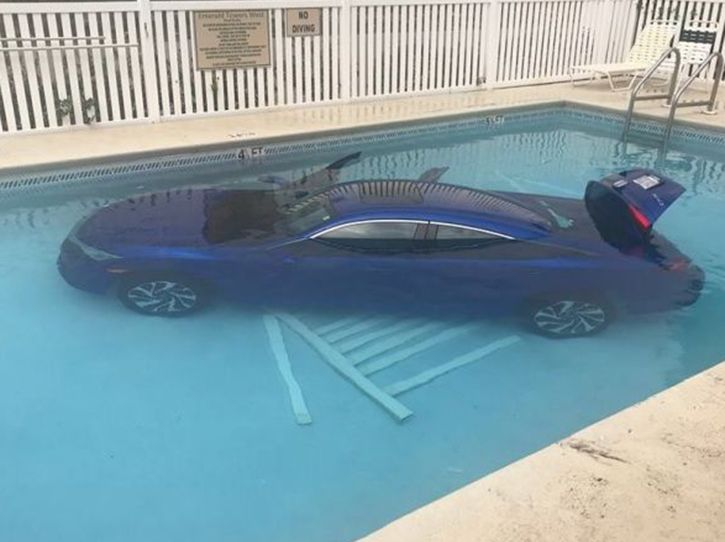Woman who left her unattended car roll into a pool