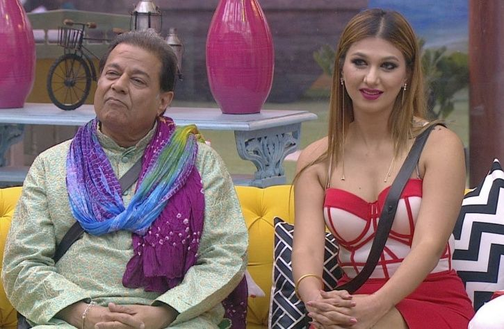 A picture of Anup Jalota and Jasleen Matharu from Bigg Boss.