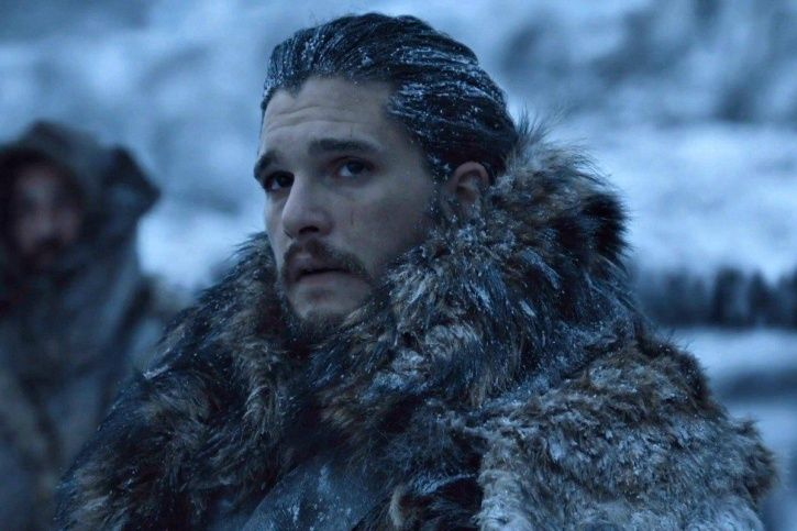 A picture of Jon Snow from Game of Thrones season 8.